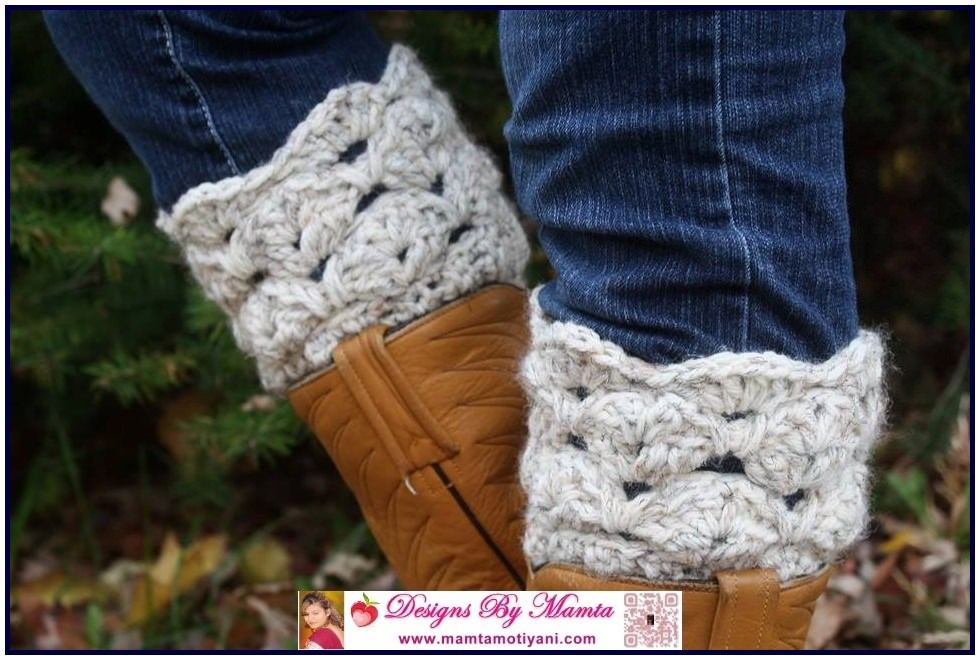 Crochet Boot Cuff Easy Pattern : Boot Cuff Crochet Pattern Stylish Unique Sea Shells Design