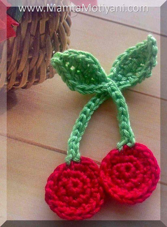 Crochet Cherries Applique Pattern Modern Holiday Crochet Patterns by ...