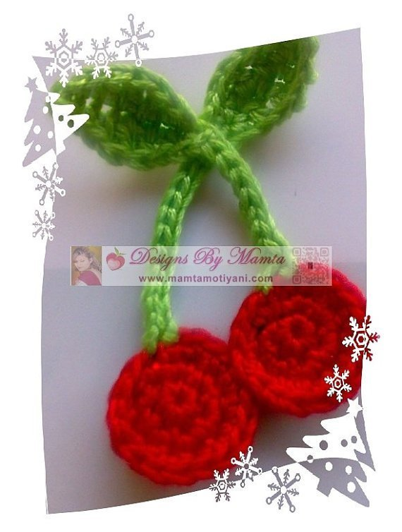 Crochet Cherries Applique Pattern Modern Holiday Crochet Patterns By