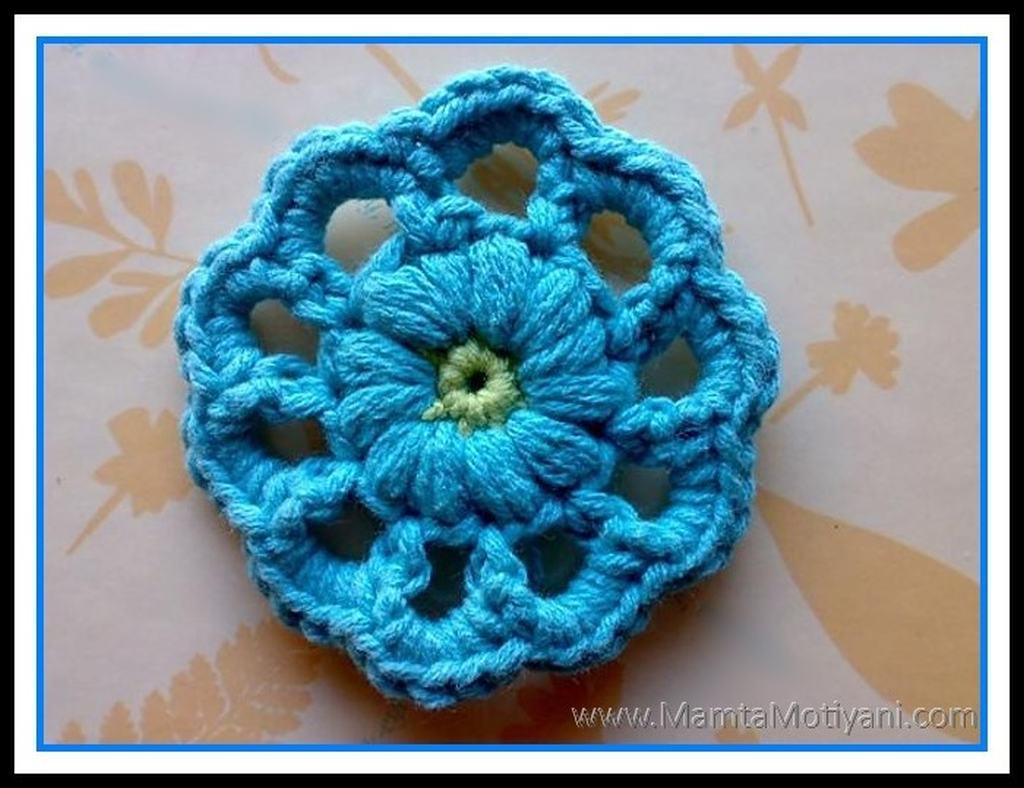Crochet flower applique pattern wheel of fortune by mamta motiyani