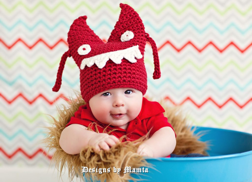 Crochet Halloween Monster Hat Pattern For Children Babies