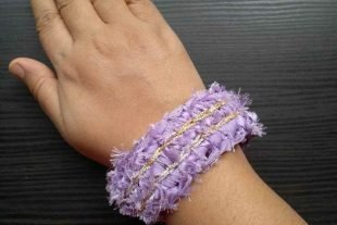 Crochet Purple Fabric Cuff Bracelet