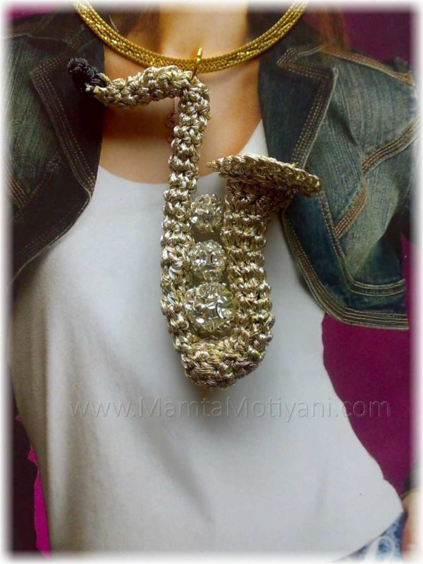 Crochet Saxophone Jewelry Pattern