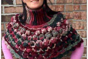 Crochet Sea Shells Turtleneck Poncho Pattern