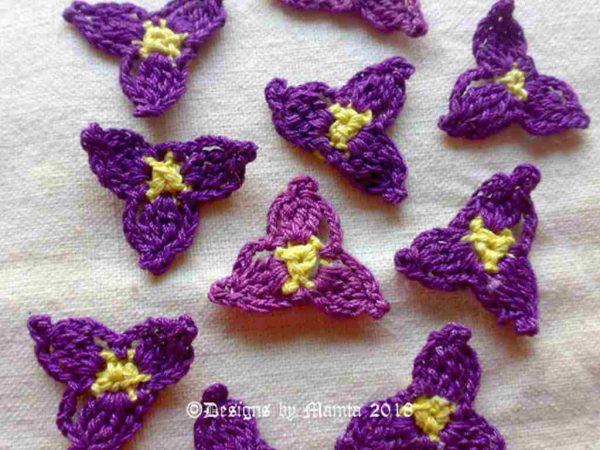 Crochet Spiderwort Flower Appliques