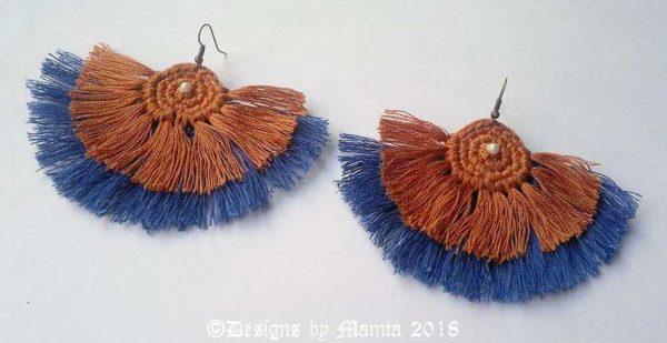 Crochet Tassel Fan Earrings