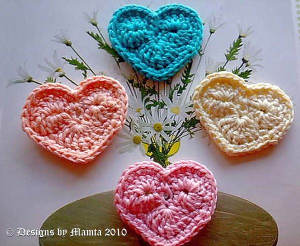 Crochet Valentine My Heart Applique Pattern