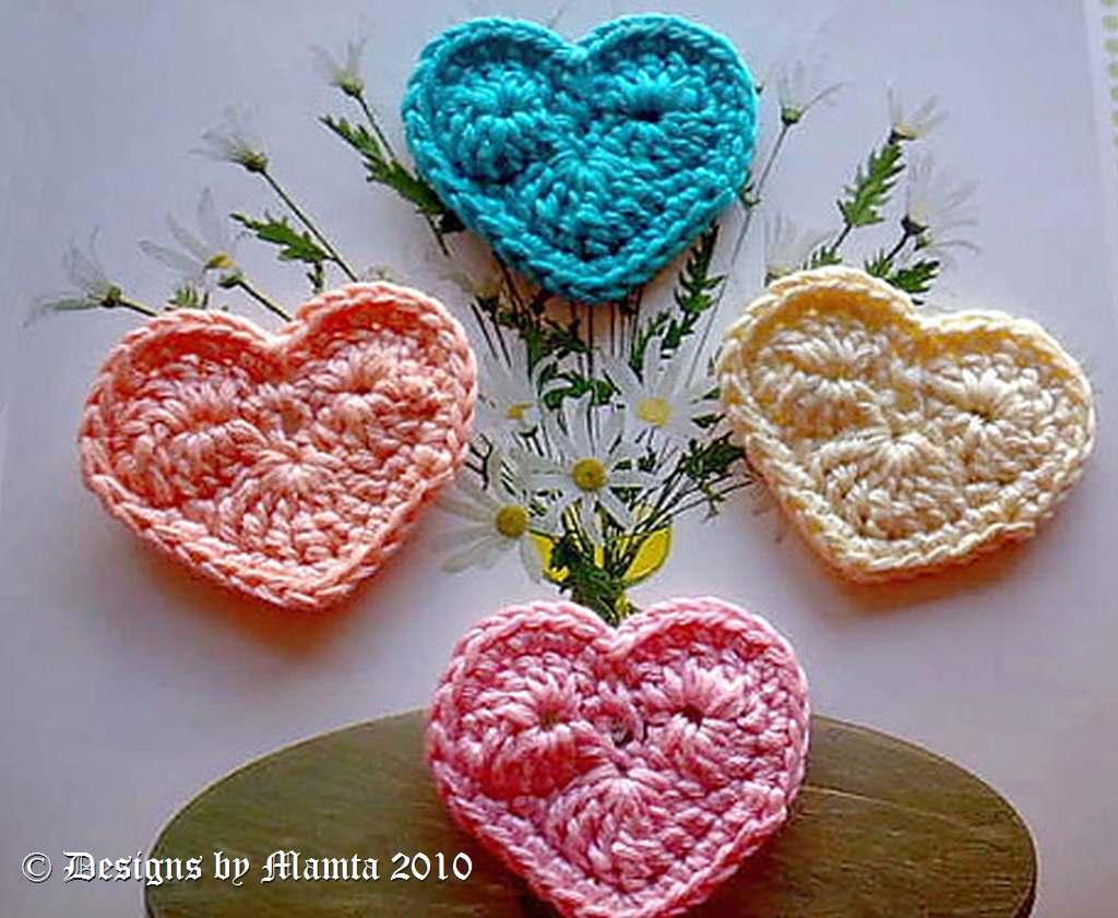 Crochet Valentine My Heart Applique Pattern Embellishments Ornaments