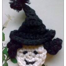 Crochet Witch Head Applique Pattern