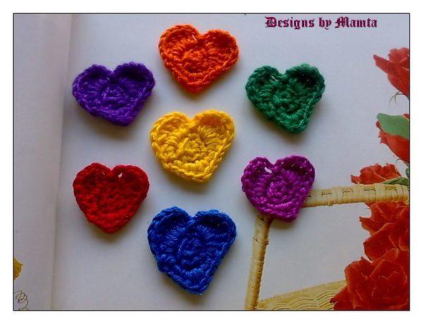 Crocheted Flowers Heart Shaped