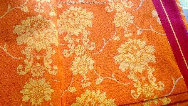 Damask Print Cotton Saree Fabric By The Yard Designer Sari