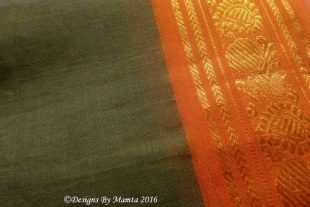 Dark Green Sari Fabric With Paisley Border