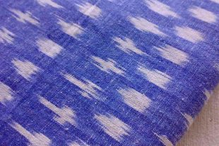 Denim Blue White Cotton Ikat Fabric