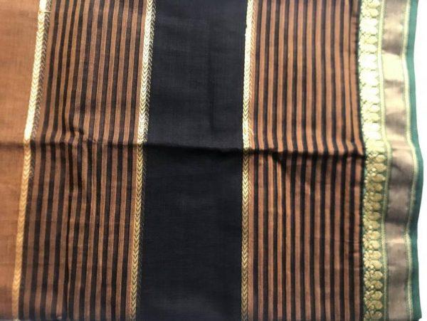 Dual Tone Brown Black Sari Fabric