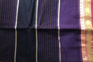 Dual Tone Purple Black Sari Fabric