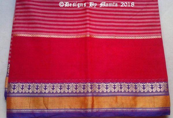 Dual Tone Red Pink Ilkal Saree Fabric