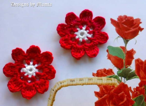 Eight Petal Crochet Flower