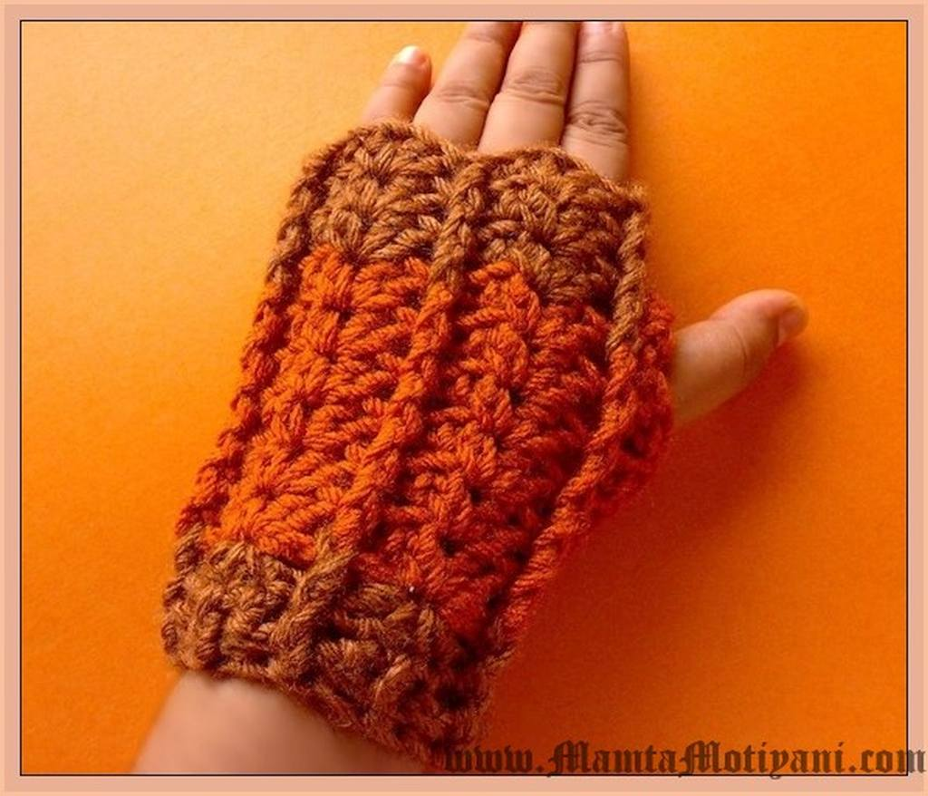 Fingerless Glove Crochet Pattern Designer Wristwarmer By Mamta