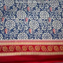 Floral Blue Cotton Saree Fabric