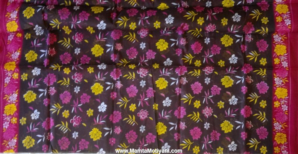 Floral Print Cotton Saree Fabric By The Yard Indian Saris