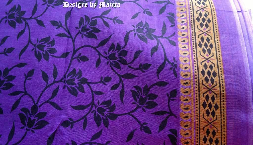 Lotus Print Purple Indian Sari Fabric Ethnic Indian