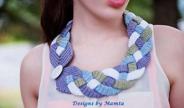 Four Braid Crochet Necklace Pattern