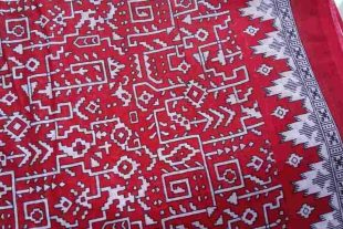 Geometric Print Red Sari Fabric