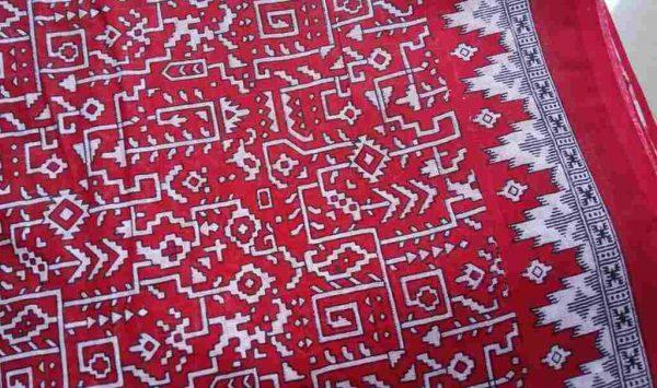 Geometric Print Red Sari Fabric