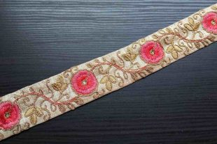 Gold Pink Embroidered Silk Trim