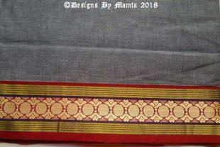 Gray Black Dual Tone Indian Ilkal Sari Fabric