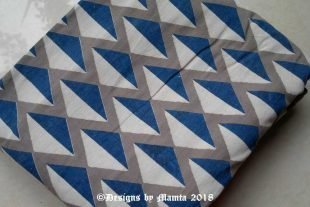 Gray Blue White Diamond Print Fabric