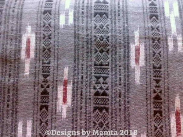 Gray Burgundy Ikat Fabric