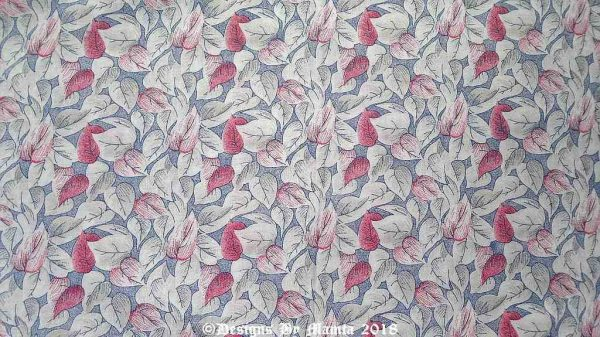 Gray Heart Leaves Quilting Cotton Fabric
