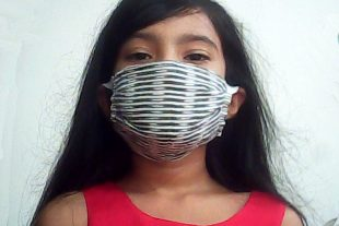Gray Striped Face Mask