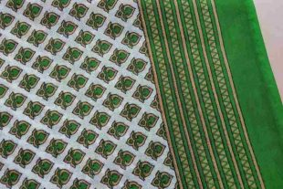 Green Heart Print Sari Fabric