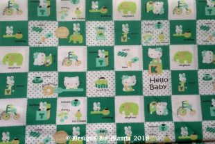 Green Hello Kitty Cat Print Fabric