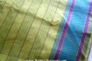 Green Ilkal Cotton Sari Fabric