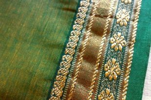 Green Ilkal Saree Fabric