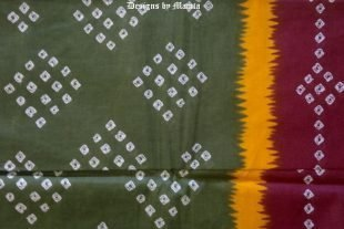 Green Tie Dye Saree Fabric By The Yard