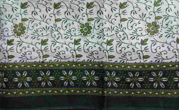 Green White Floral Sari Fabric