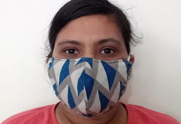 Grey Blue Face Mask