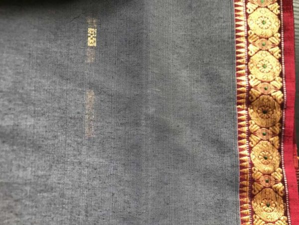 Grey Gold Indian Saree Fabric