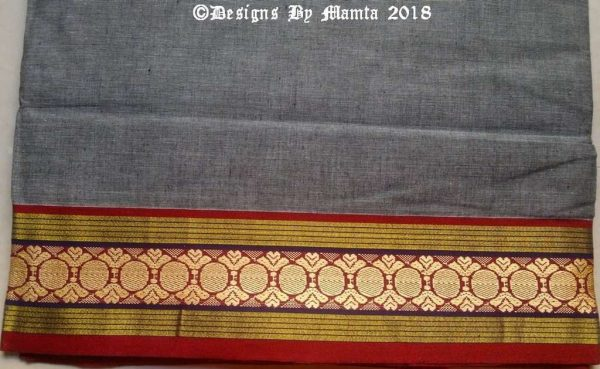 Grey Hand Woven Indian Ilkal Sari Fabric