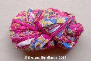 Gulaab Pink Blue Sari Yarn Ribbon