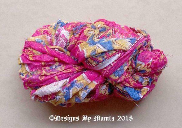 Gulaab Pink Blue Sari Yarn Ribbon