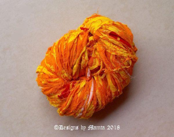 Haldi Floral Print Yellow Sari Ribbon Yarn