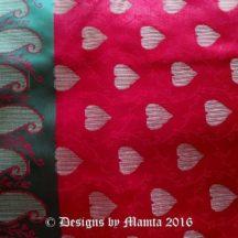 Hand Woven Red Hearts Sari Fabric