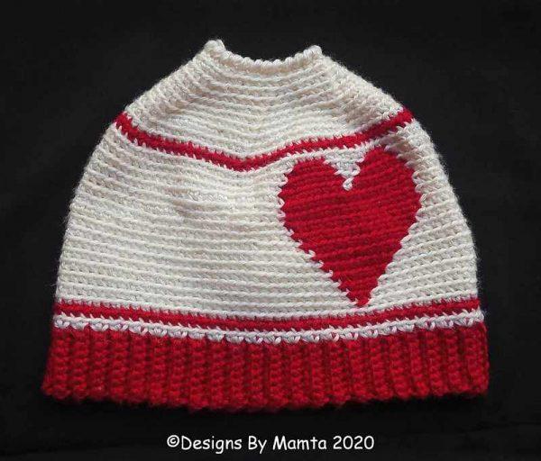 Heart Messy Bun Hat