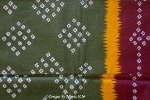 Heena Green Bandhani Tie Dye Sari Fabric