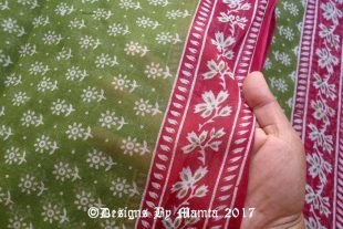 Henna Green Indian Cotton Sari Fabric
